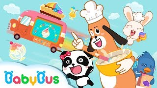 Baby Panda Ice Cream & Smoothies Truck Kiki & Miumiu Have Chocolate Strawberry Ice Cream Playset