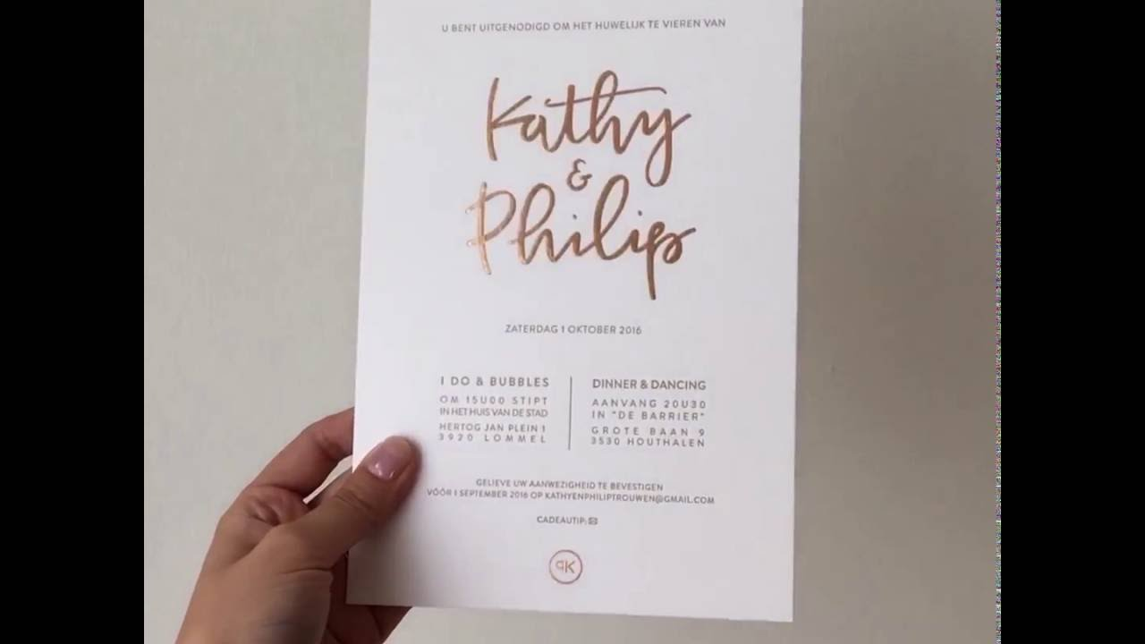 Copper foiled wedding invitations in action - YouTube