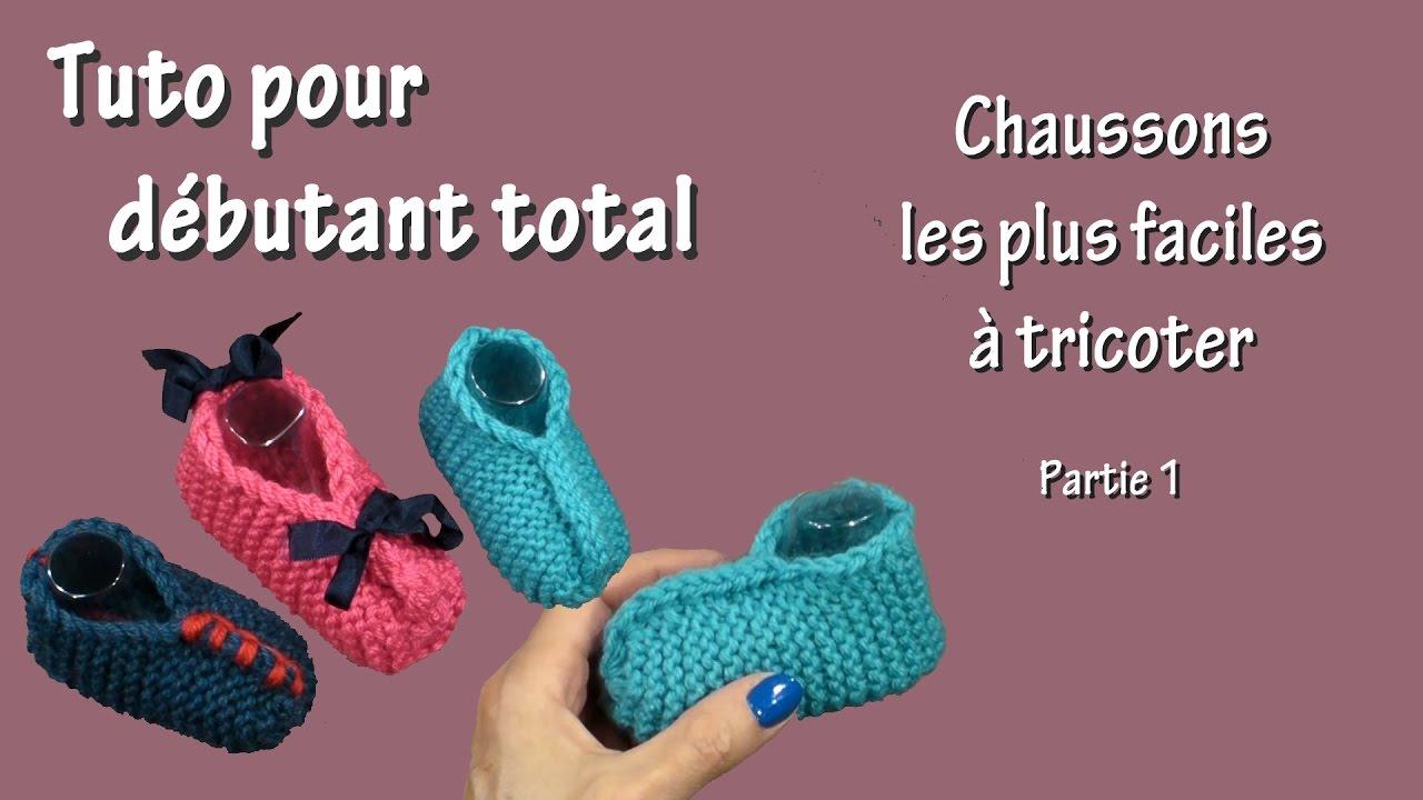 Tuto tricot pour débutant total : Chausson le plus facile - Partie 1 - YouTube