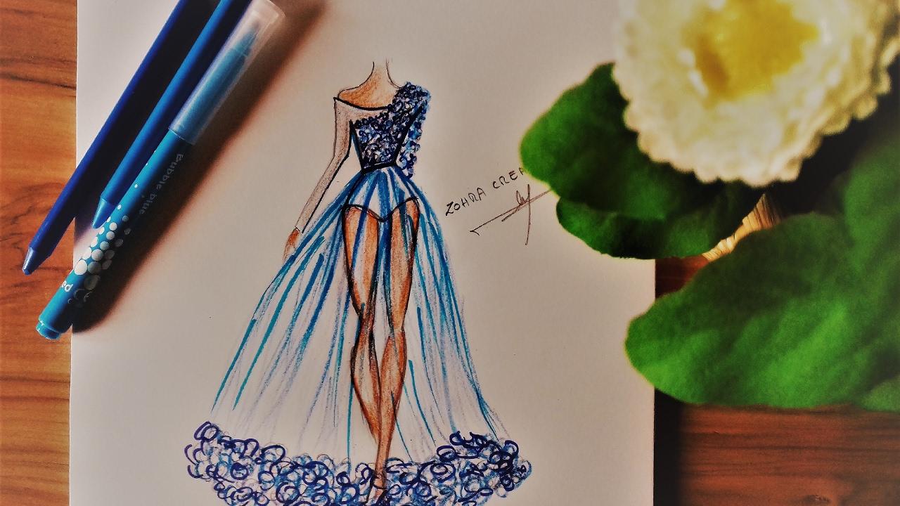 How To Draw Chiffon Dress Youtube