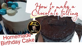 HOMEMADE LAYERED CHOCOLATE CĄKE | HOW TO MAKE CHOCOLATE FILLING & FROSTING | SIMPLE DESIGN CAKE