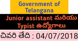 Junior assistant and Typist vacancies from Government of Telangana| SC&ST Backlog recruitment