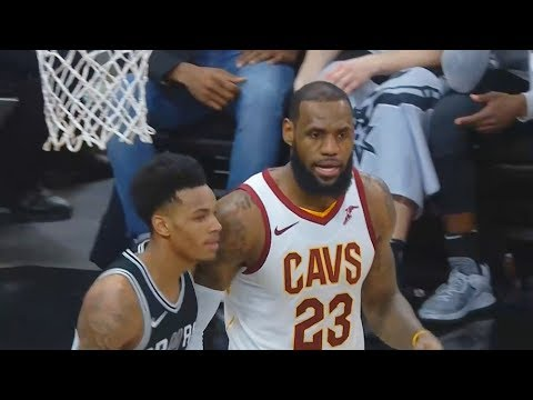 LeBron James Daps Dejounte Murray after great defensive stand