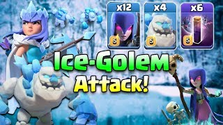 Ice-Golem TH12 CWL Attack Strategy 2019! 4 Ice-Golem + 12 Witch + 6 Bat Spell 3star TH12 War Attack