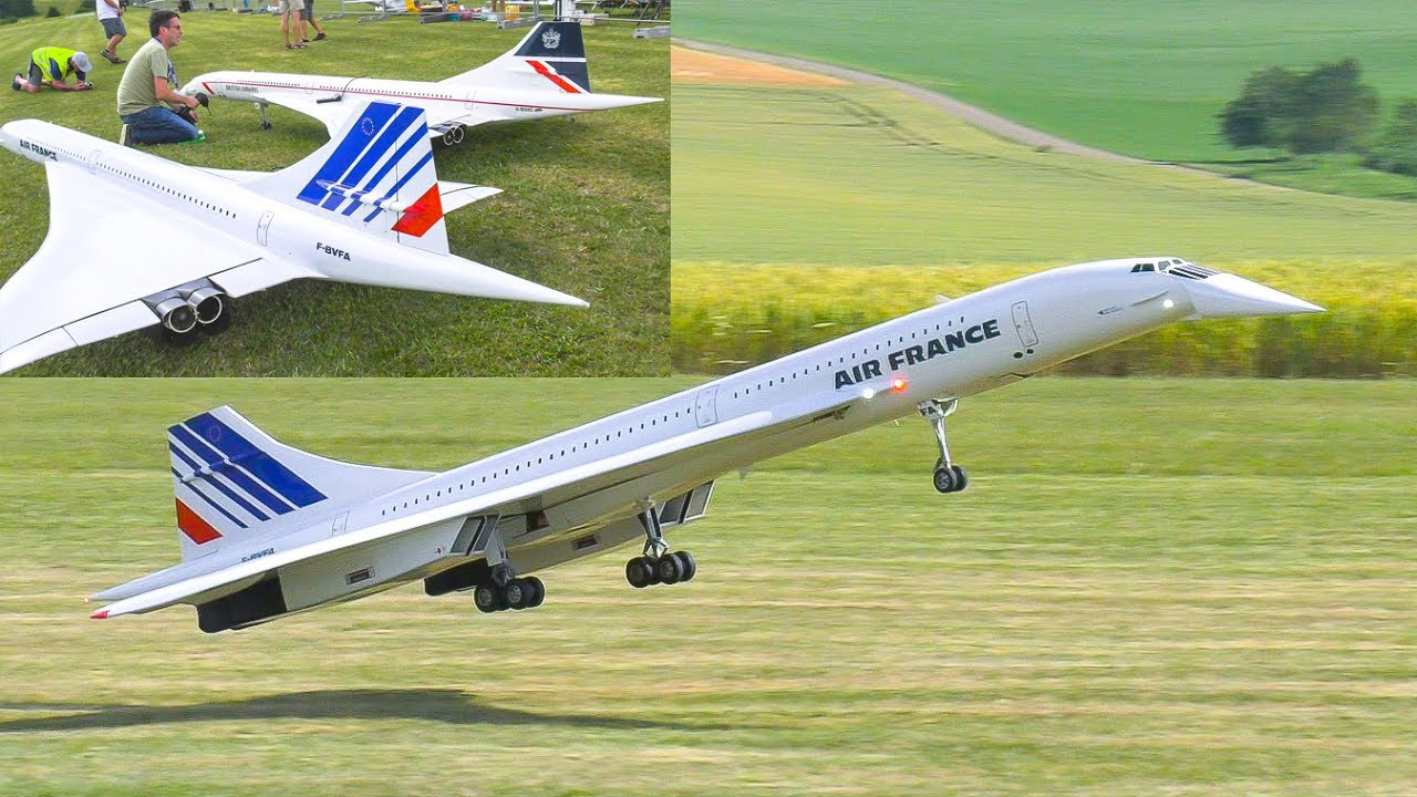 2x RC MODEL JET CONCORDE FLIGHT DEMO Airliner Meeting Oppingen 2017