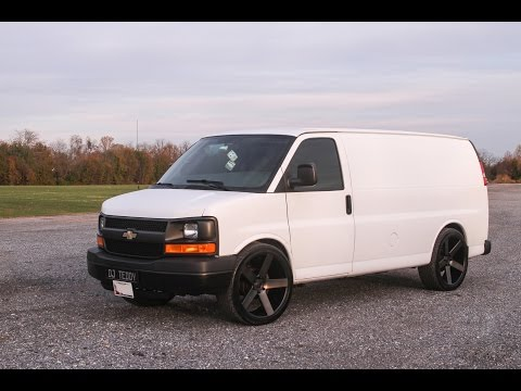 2008 Chevy Express van with Dub Ballers