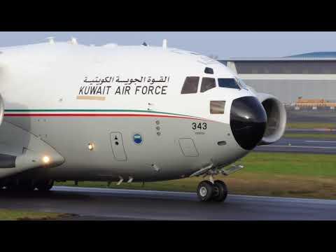 Antonov An-124 & Kuwait C-17 at Prestwick Airport [4K/UHD]