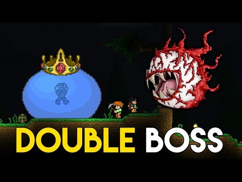 DOUBLE BOSS FIGHT! - King Slime & Cthulhu! - Lets Play Vanilla Terraria - Gameplay : Part 4