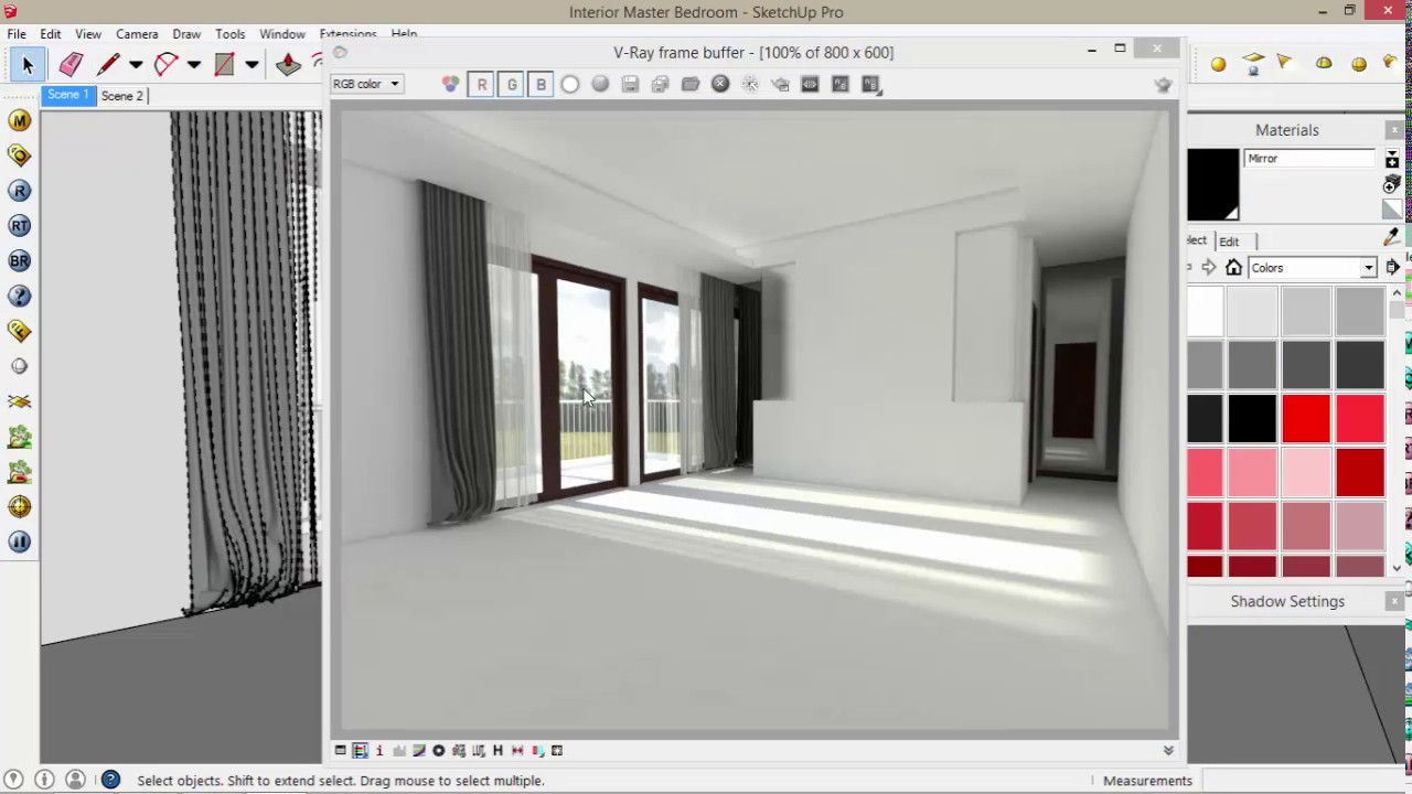 Tutorial sketchup clear glass frosted glass mirror for Mirror in sketchup