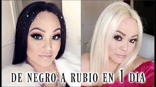DECOLORACION DE CABELLO EXTREMA DE NEGRO A RUBIO EN 1 DIA / PASO A PASO
