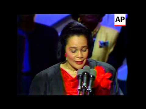 Coretta Scott King, widow of Dr. Martin Luther King Jr., delivers a speech during the 1988 Democrati