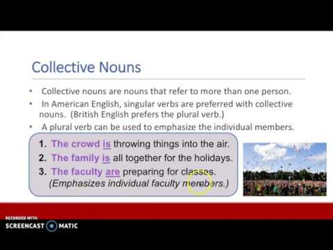 Subject Verb Agreement Collective Nouns Youtube