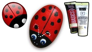 How to Paint Ladybug on Pebble/Rock | How to Draw and Color Kids TV