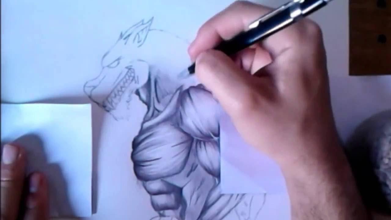 Como dibujar un Hombre lobo realista a lpizhow to draw a