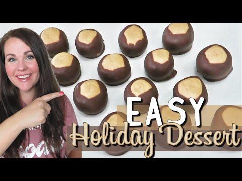 EASY HOLIDAY DESSERT | BUCKEYES | NO BAKE EASY DESSERT RECIPE