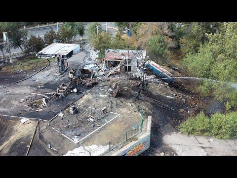 Волгоград: последствия взрыва на АЗС с высоты