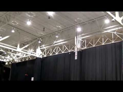 Hacker HotWing 500 flying indoors at IHobby 2012