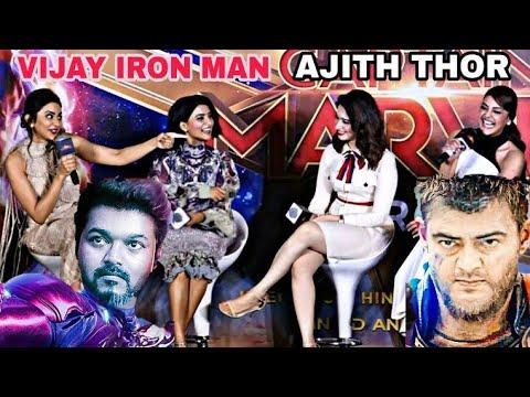 Download Vijay as IRONMAN   Ajith  THOR   Surya CAPTAIN AMERICA    Kajal  Tamannaah Samantha Rakul Press meet