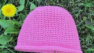 Шляпка - панамка для девочки связанная крючком