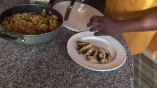 Stuffed Chicken Breast With Eggplant & Mushroom Noodles
