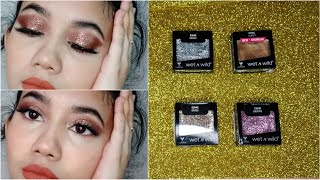 Wet n Wild single glitter eyeshadows review+swatches+eyelook