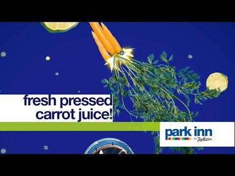 Fresh pressed carrot juice at Park Inn by Radisson!