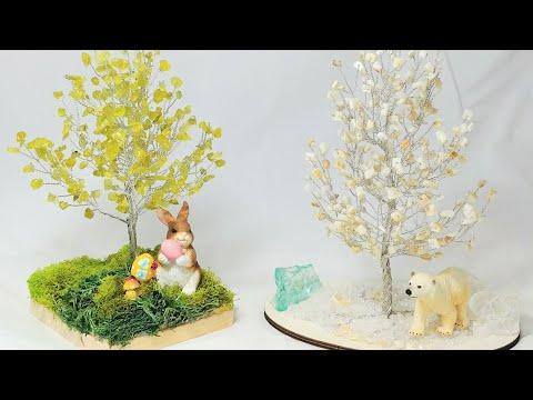 Дерево счастья из камней. Часть 2. МК от Koshka2015 - цветы из бисера, бисероплетение Сборка и декор