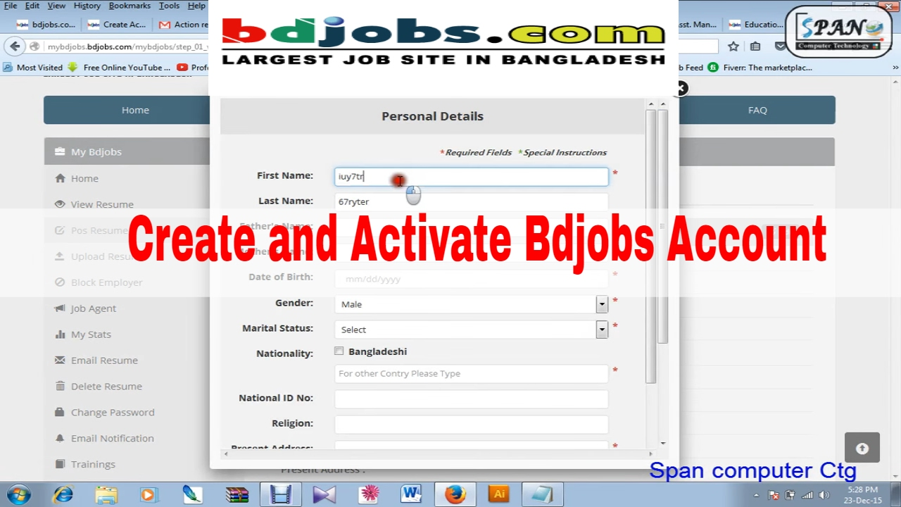 How To Create And Activate Bdjobs Account And How To Apply Job Application