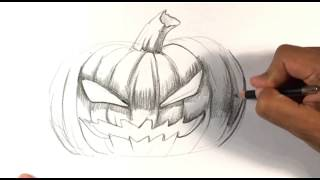 CRAZY! How to Draw a Jack-O-Lantern - Skull Drawings