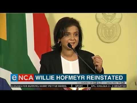 Willie Hofmeyr reinstated
