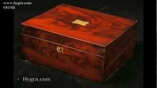 Antique Flame Mahogany Sewing Box Circa 1830.