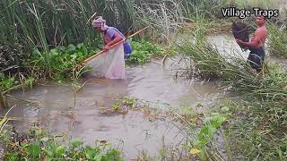Fishing by net,Very old traditional way of fishing in my village