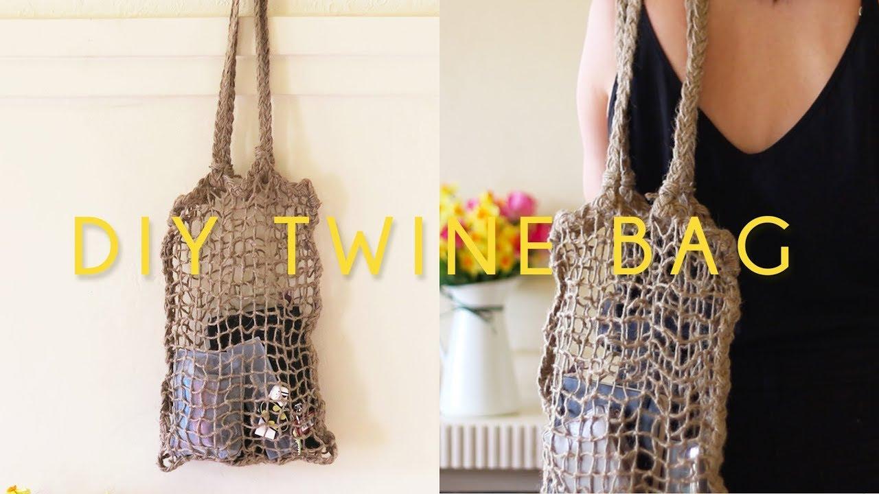 7698517ab2 DIY Twine Net Tote Bag - YouTube
