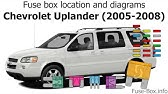 Chevy Uplander Fuses and Relays - AC, Fuel Pump ETC - YouTube on srx fuse box, accord fuse box, g6 fuse box, sentra fuse box, highlander fuse box, grand cherokee fuse box, new beetle fuse box, murano fuse box, mercury villager fuse box, cr-v fuse box, ram 1500 fuse box, liberty fuse box, chevy tracker fuse box, equinox fuse box, dakota fuse box, pathfinder fuse box, charger fuse box, sebring fuse box, durango fuse box, montero fuse box,