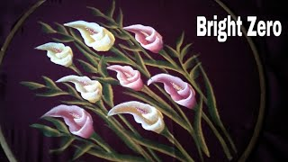 Free hand calla liliy flower on fabric | Easy Painting | Fabric painting on clothes |