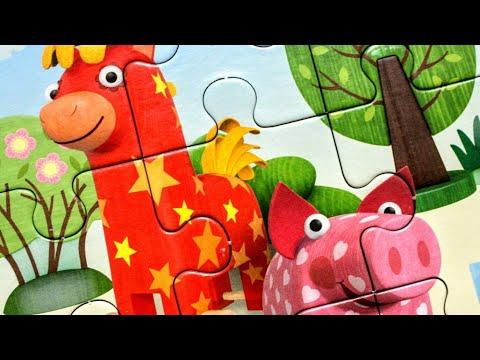 Деревяшки Лошадка Иго-Го и Поросенок Хрю - Собираем пазлы для детей мультик Деревяшки