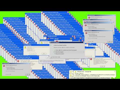 [GREEN SCREEN] Windows XP Error - VIRUS ERROR ☢ - FOOTAGE - SOUND