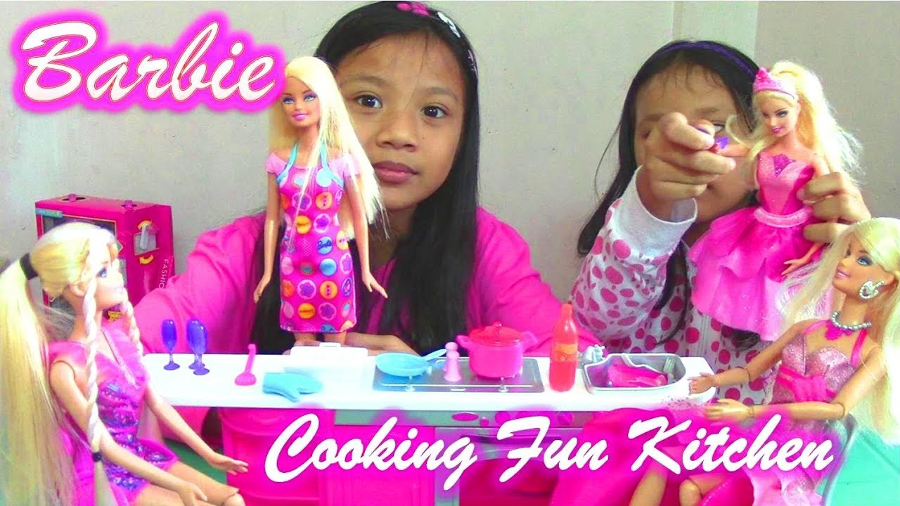 Barbie Cooking Fun Kitchen And Barbie Princess Dolls From