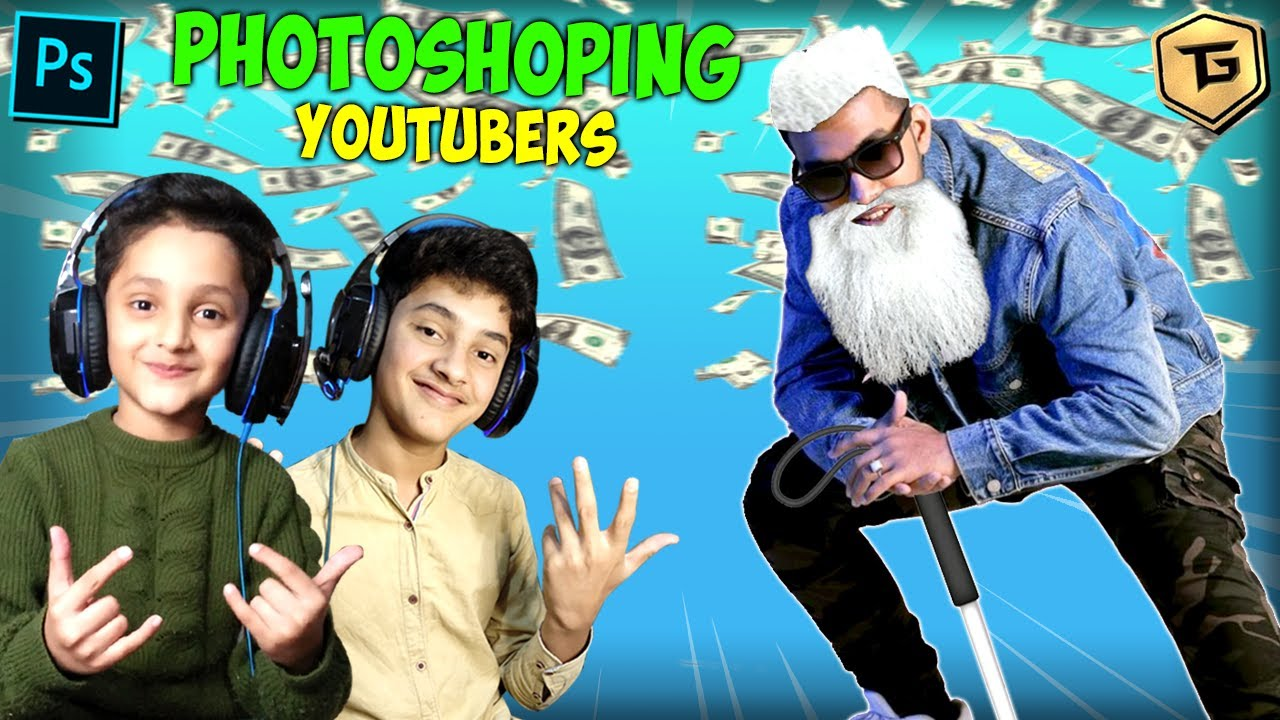 PHOTOSHOPPING FAMOUS GAMING YOUTUBERS WITH MY LITTLE BROTHER