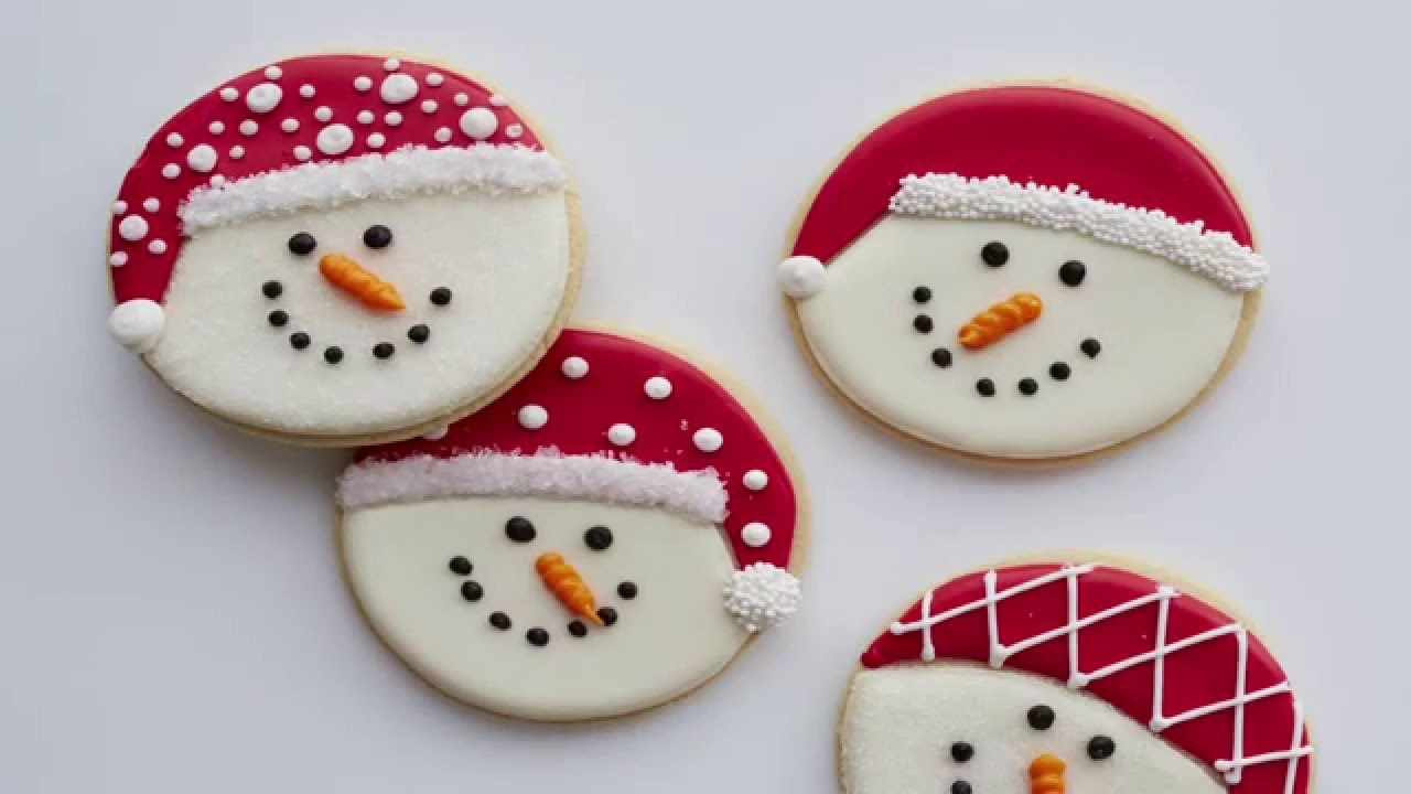 How To Decorate Snowman Cookies Youtube