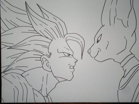 How To Draw Super Saiyan 3 Goku Vs Bills孫悟空スーパーサイヤ人3対