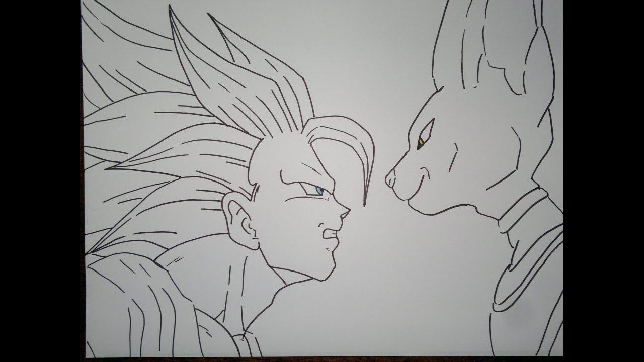 How To Draw Super Saiyan 3 Goku Vs Bills孫悟空スーパーサイヤ人3対手形を描画する方法