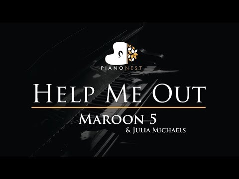 Maroon 5 & Julia Michaels - Help Me Out - Piano Karaoke / Sing Along / Cover with Lyrics