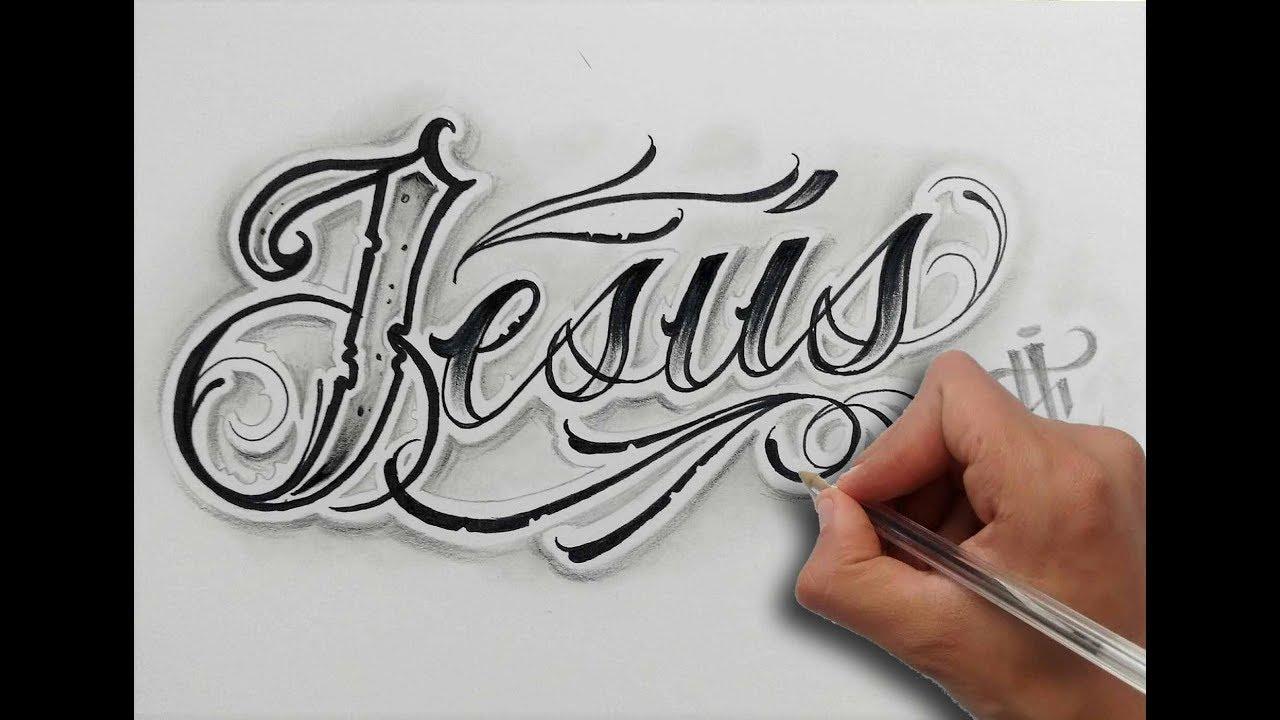 Dibujando Letras Chicanas Jesús Drawing Chicano Lettering Nosfe Ink Tattoo