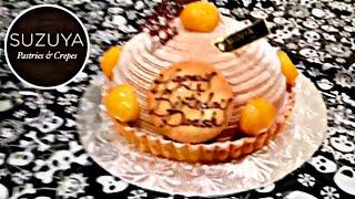 Suzuya Pastries & Crepes Japanese style pastry shop V1, Las Vegas NV, Chestnut Mont Blanc Cake! 🍰