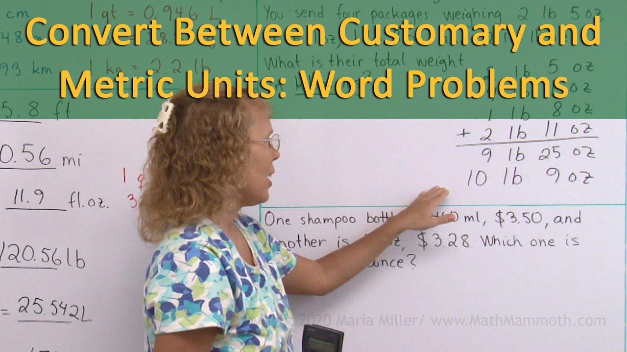 medium resolution of Convert between customary and metric units of measurement (6th grade math)