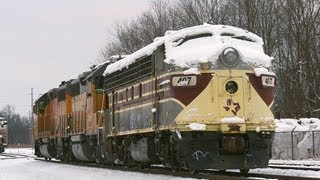 Texas Star EMD F7 being moved by the Union Pacfic at Mount Vernon Illinois 12-29-2012