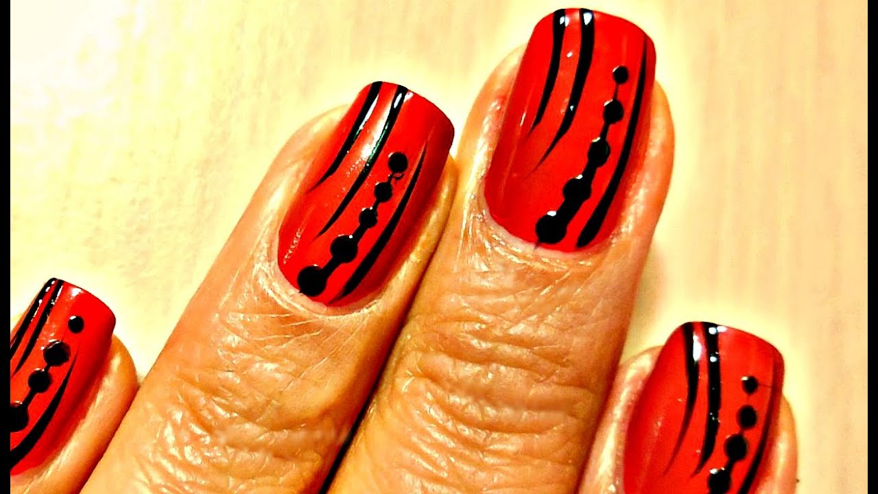 easy nail art design - red