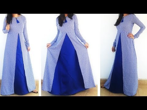 DIY Designer Frontslit Long Gown Maxi KurtiDress Cutting And Stitching Tutorial