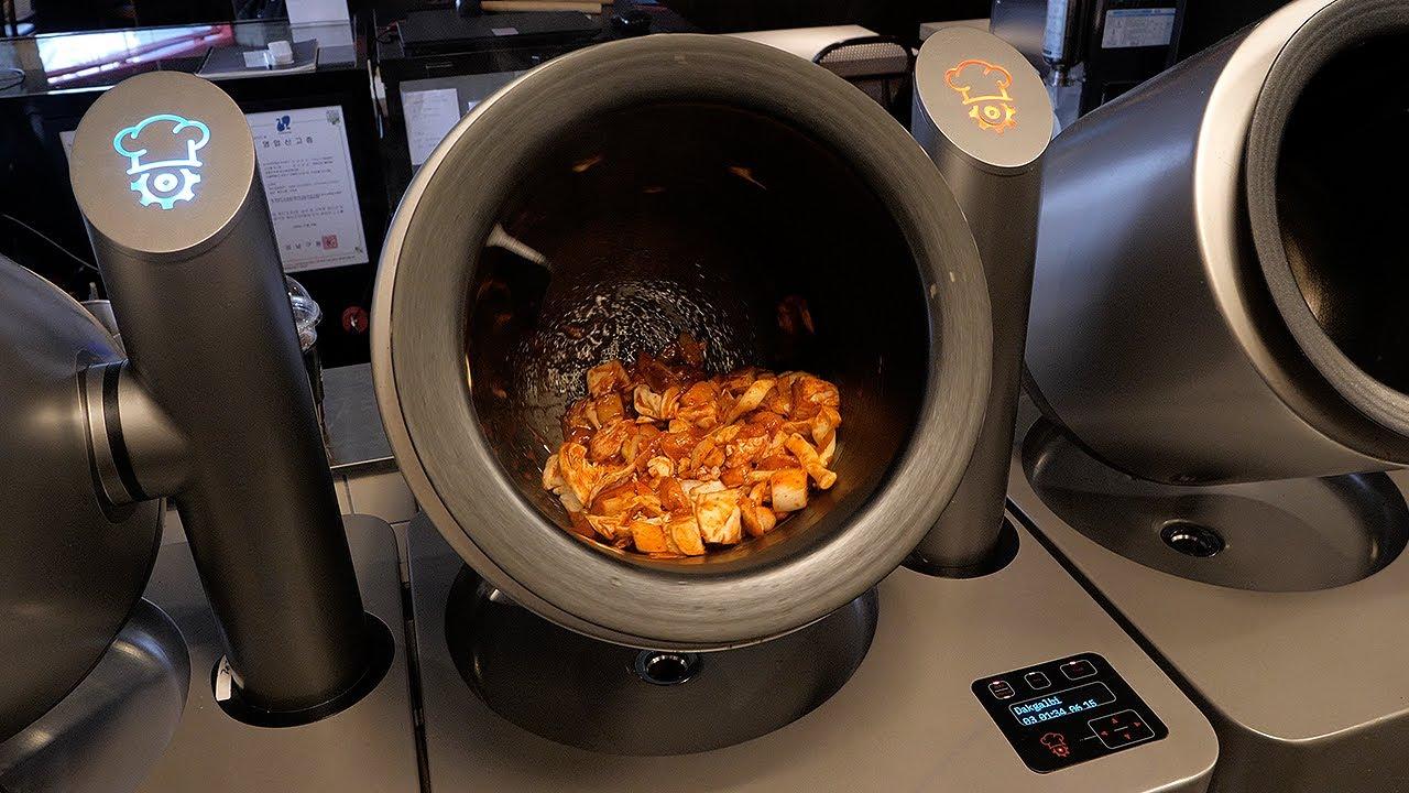 로봇 치즈 닭갈비 / spicy grilled cheese chicken made by robot / korean street food